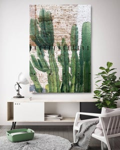 Cactus Garden, Succulent Painting Hand Embellished Giclee Art on Canvas