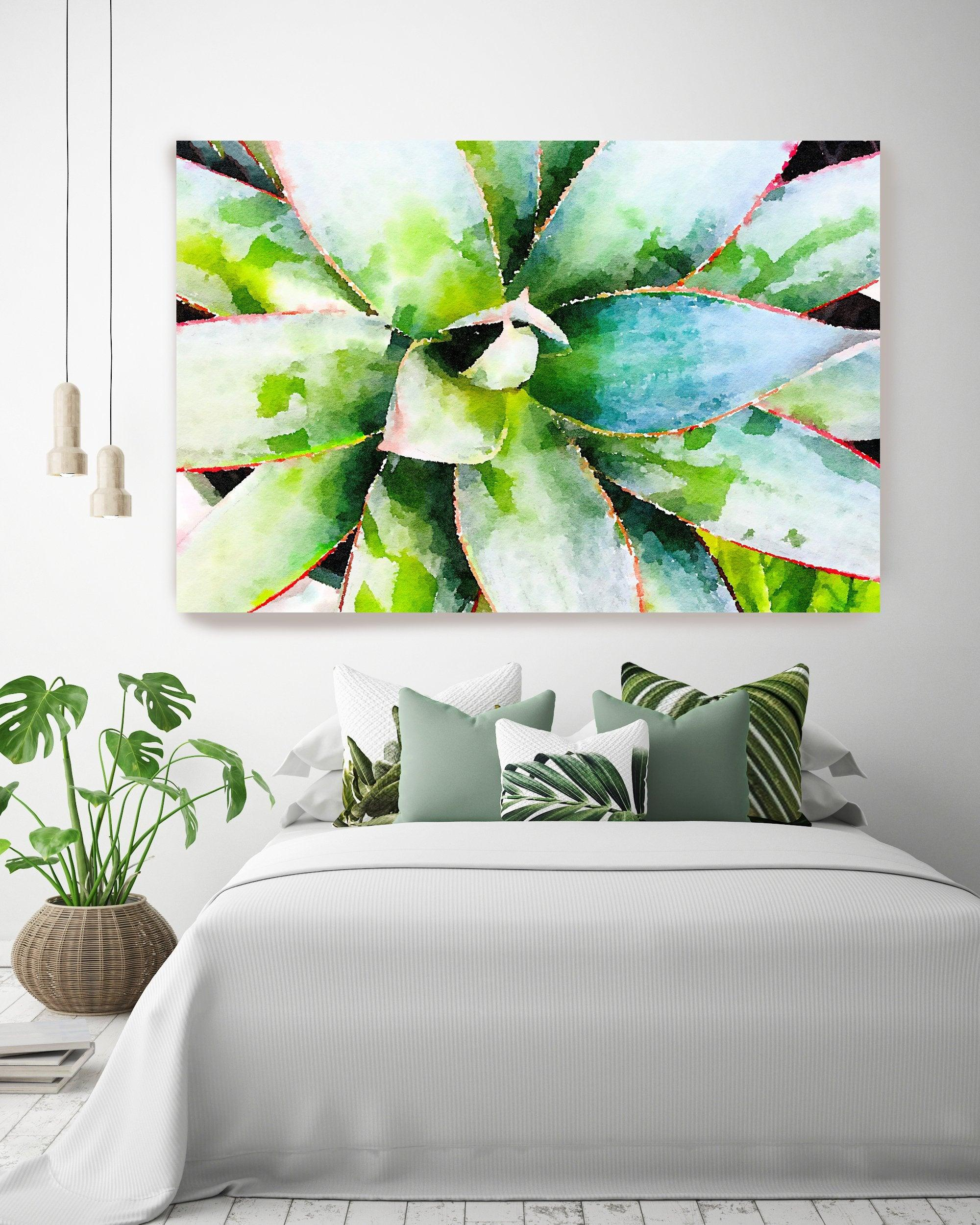 Elegant Succulent Green Succulent Painting Hand Embellished Giclee Art on Canvas