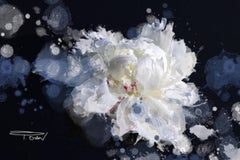 Breathless, Blue Black White Floral Painting Hand Embellished Giclee on Canvas