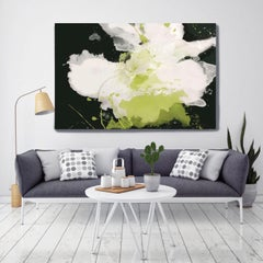 Serene Green Black White Floral Painting Hand Embellished Giclee on Canvas