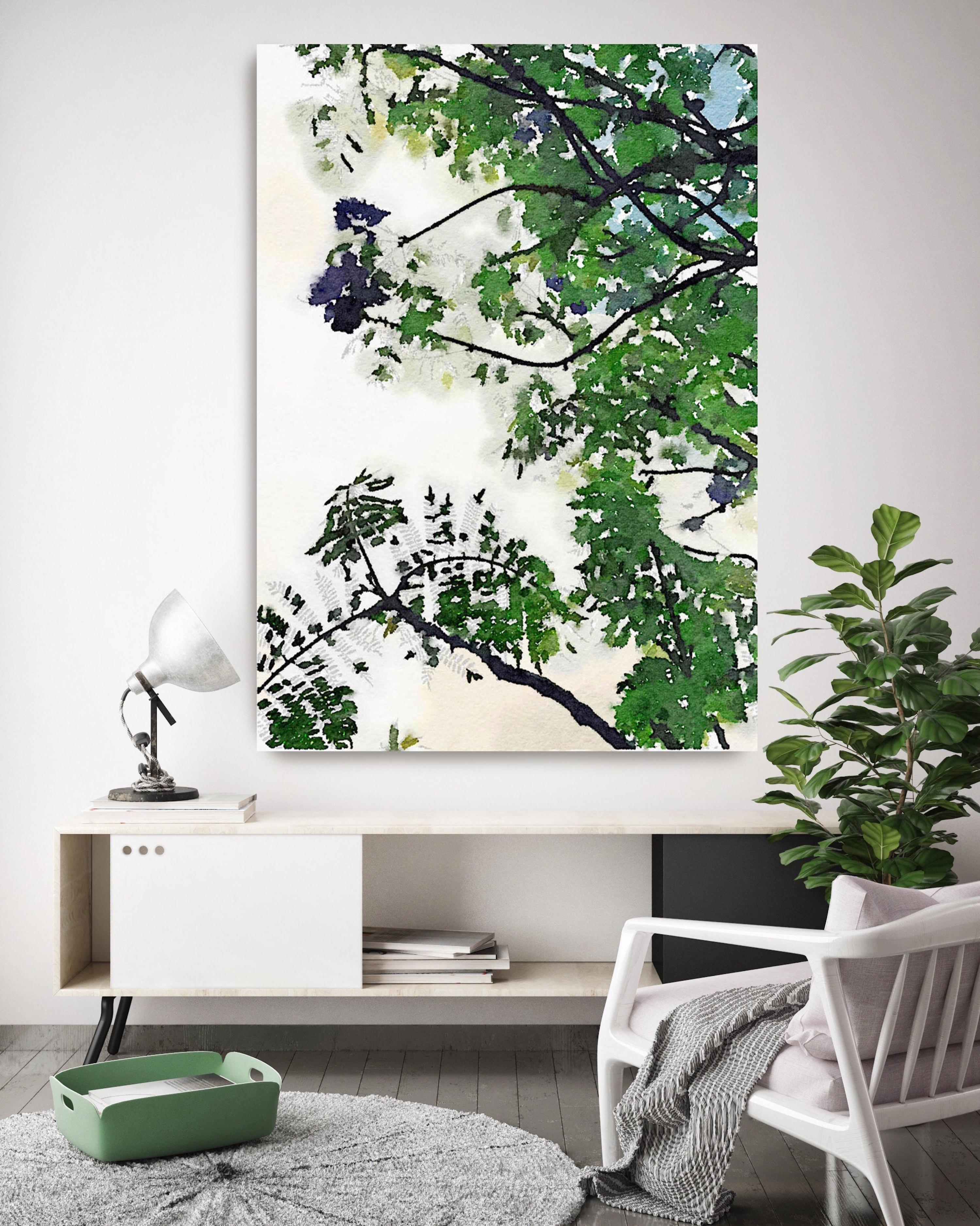 Summer Loving Landscape Painting Hand Embellished Giclee Art on Canvas