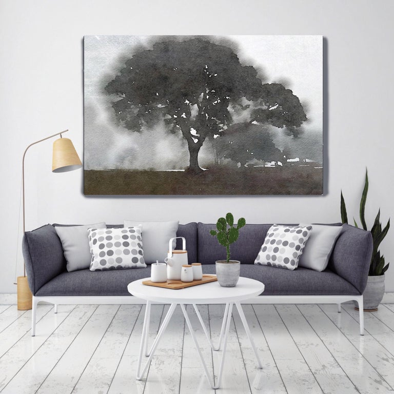 Foggy Trees Landscape Painting Hand Embellished Giclee on Canvas - Mixed Media Art by Irena Orlov
