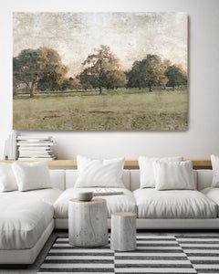 Rural Landscape Painting Hand Embellished Giclee on Canvas November Morning
