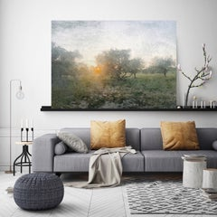 Sunrise Landscape Rustic Painting Hand Embellished Giclee on Canvas