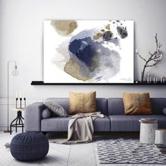 Blue Gold Abstract Painting Hand Embellished Fine Art Painting Giclee on Canvas