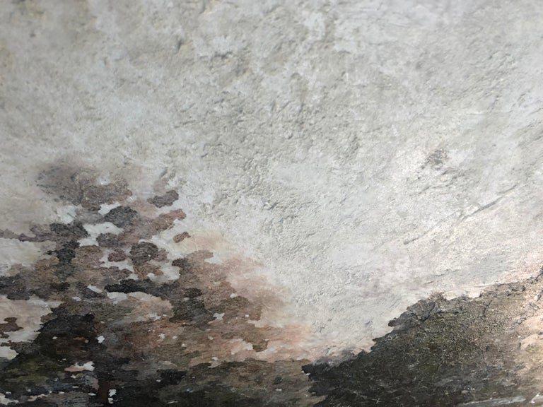 Rural Landscape In The Foggy Rustic Painting Hand Embellished Giclee on Canvas For Sale 3