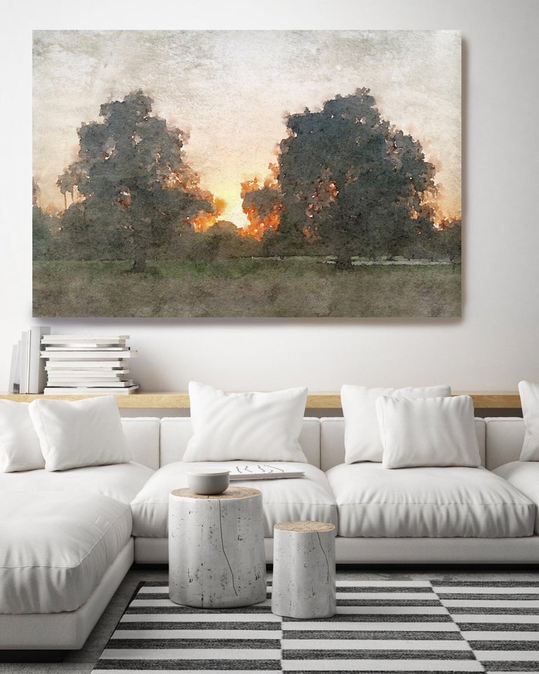 Rural Landscape In The Foggy Rustic Painting Hand Embellished Giclee on Canvas - Gray Landscape Painting by Irena Orlov