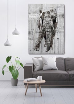ELEPHANT Portrait Rustic Grey Fine Art Hand Embellished Giclee on Canvas 60x40""