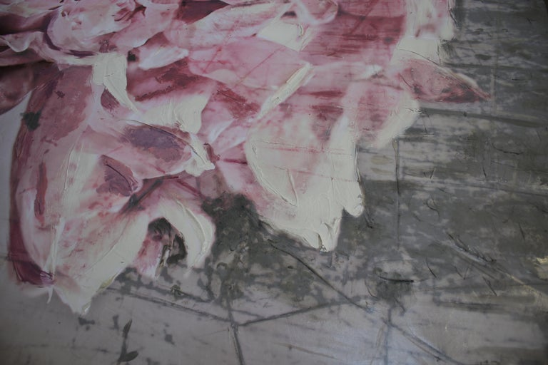 Blush Mauve Silver Peony Shabby Painting Hand Embellished Giclee on Canvas For Sale 2
