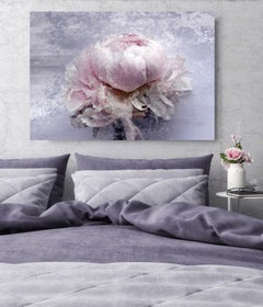 Blush Mauve Silver Peony Shabby Painting Hand Embellished Giclee on Canvas
