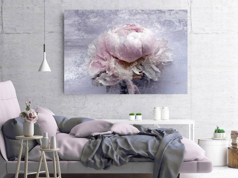 Blush Mauve Silver Peony Shabby Painting Hand Embellished Giclee on Canvas For Sale 1
