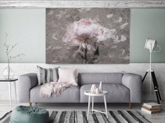 Blush Gray Spring Peony 2 Shabby Painting Hand Embellished Giclee on Canvas