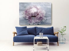 Blush Spring Peony 2 Shabby Pink Blue Painting Hand Embellished Giclee on Canvas