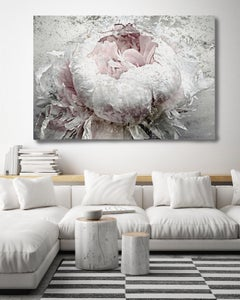 French Passion Peony, Silver Pink Painting Hand Embellished Giclee on Canvas