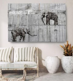 Walking Elephants Grey Fine Art Hand Embellished Giclee on Canvas 60 x 40""