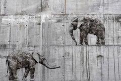 "Walking Elephants Grey Fine Art Hand Embellished Giclee on Canvas 60 x 40"""