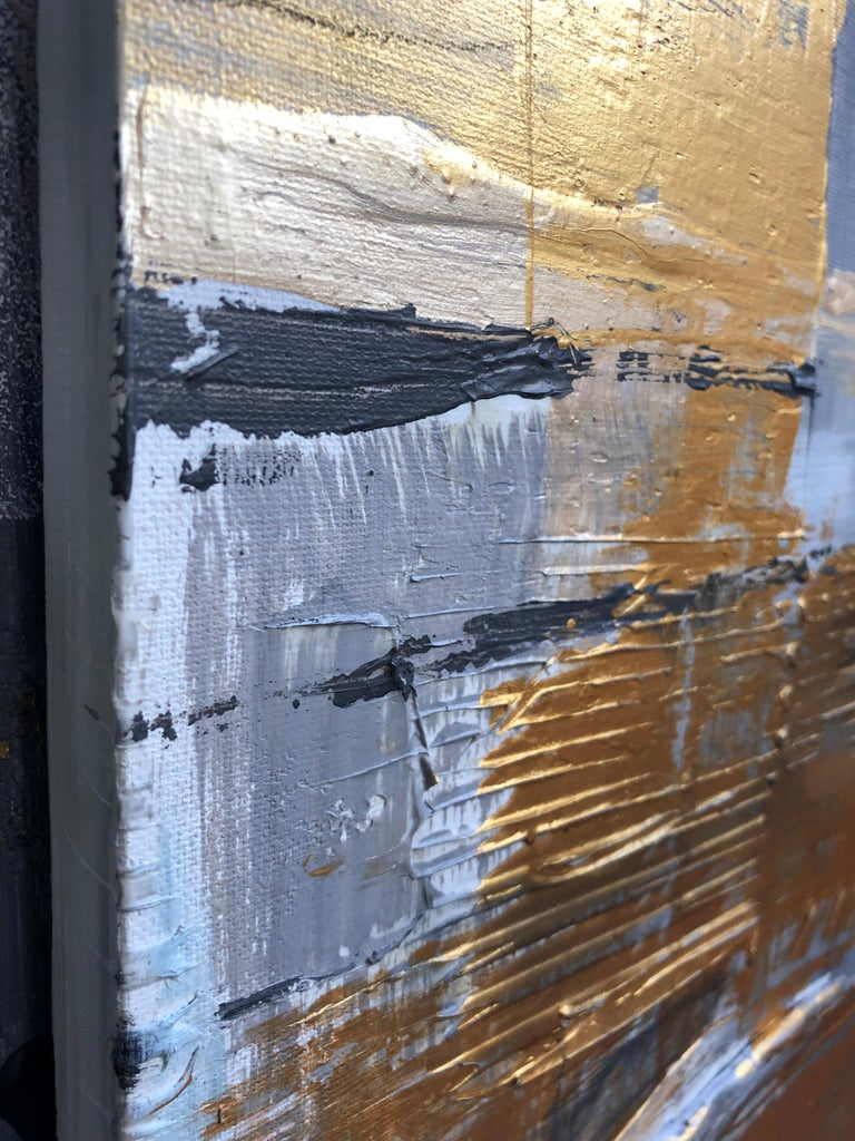 Gold Grey Mixed Media on Canvas: Acrylic Stucco, Modeling Paste Heavy Texture  For Sale 2