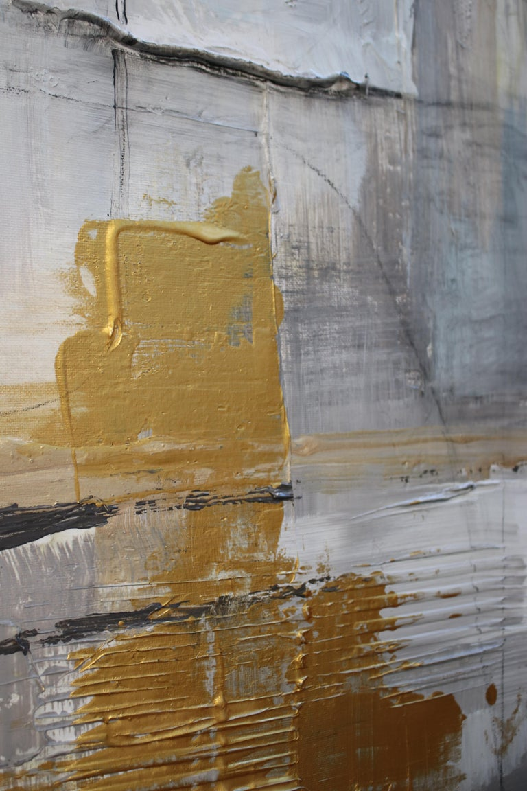 Gold Grey Mixed Media on Canvas: Acrylic Stucco, Modeling Paste Heavy Texture  For Sale 1
