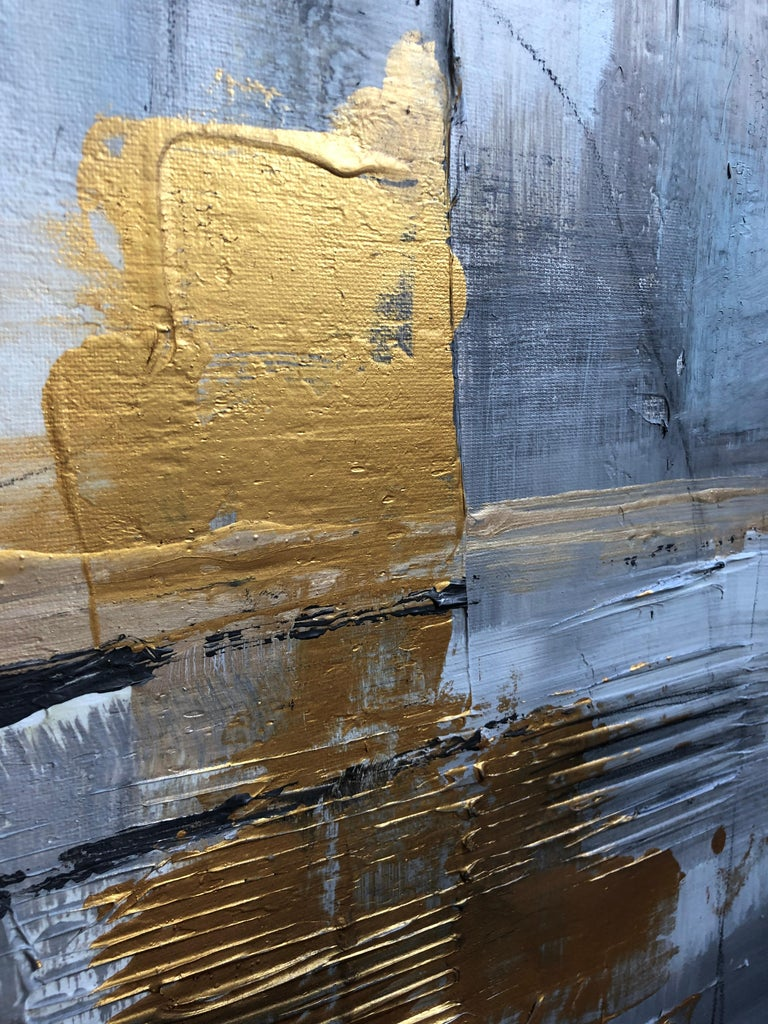Gold Grey Mixed Media on Canvas: Acrylic Stucco, Modeling Paste Heavy Texture  For Sale 4