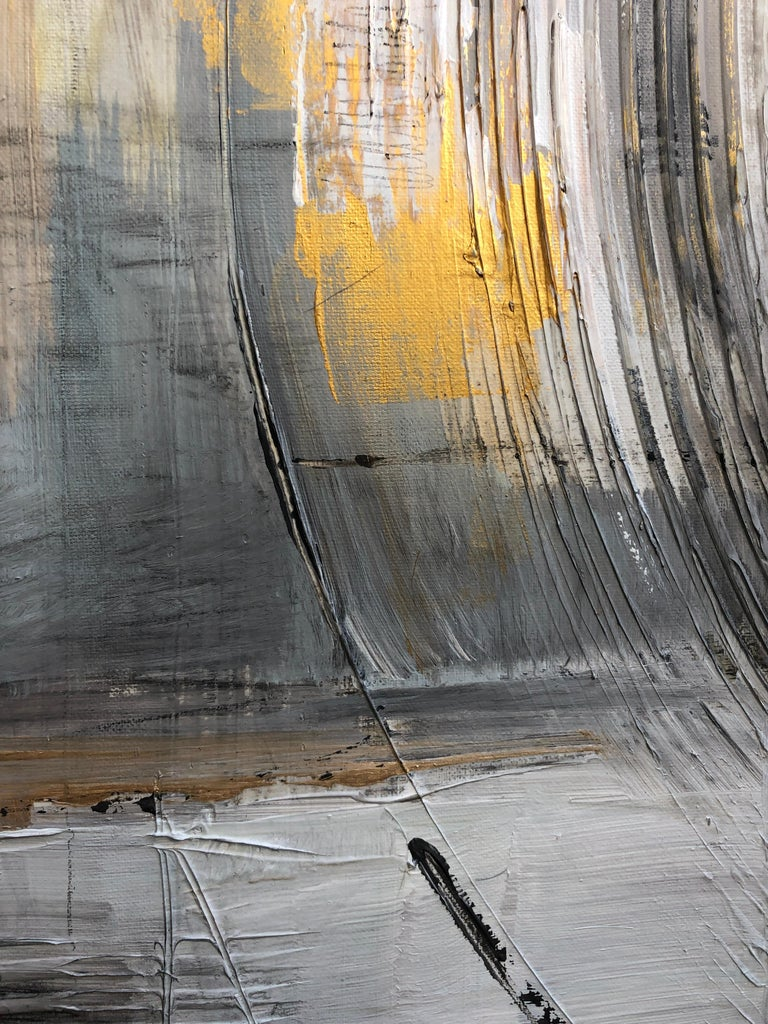 Gold Grey Mixed Media on Canvas: Acrylic Stucco, Modeling Paste Heavy Texture  For Sale 5