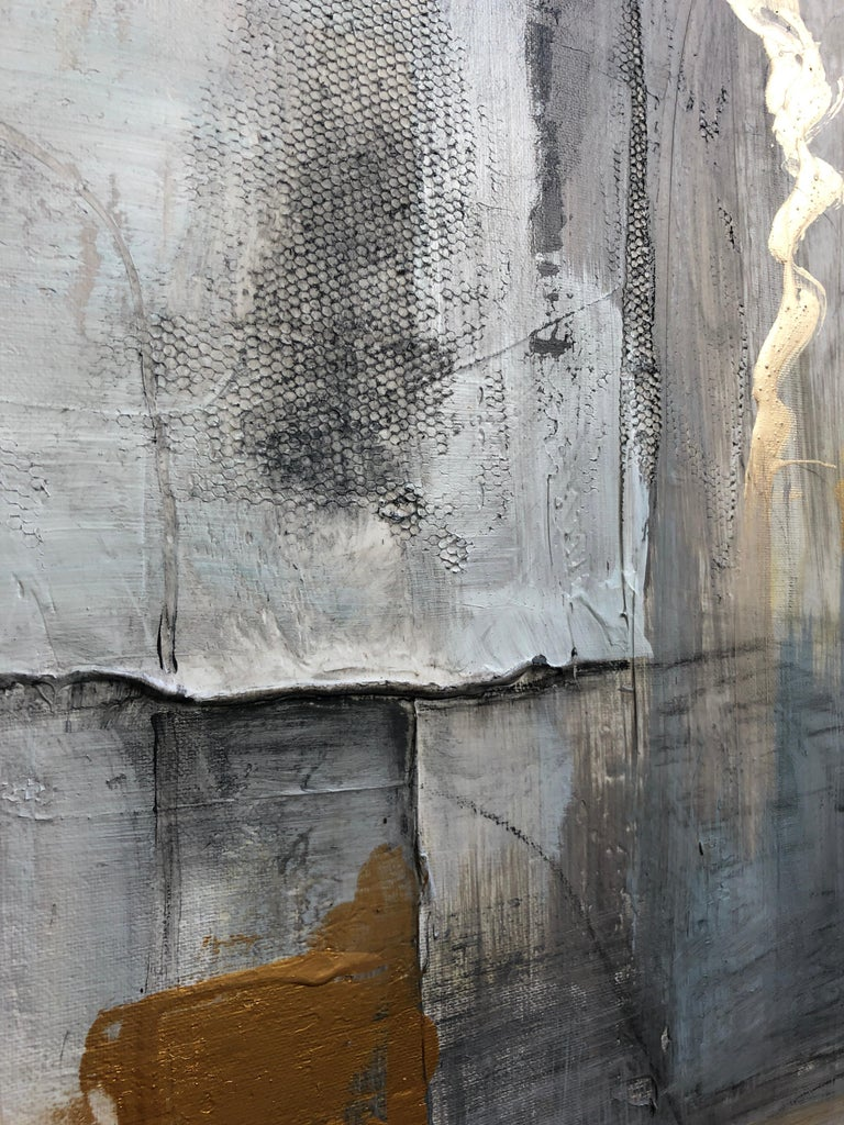 Gold Grey Mixed Media on Canvas: Acrylic Stucco, Modeling Paste Heavy Texture  For Sale 8