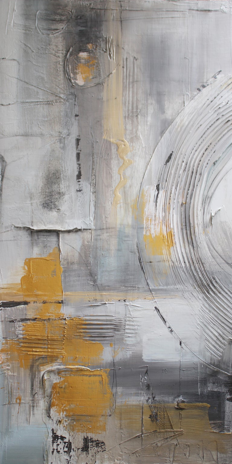 Irena Orlov Interior Painting - Gold Grey Mixed Media on Canvas: Acrylic Stucco, Modeling Paste Heavy Texture