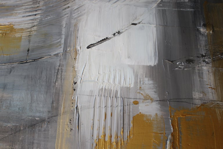 Gold Grey Mixed Media on Canvas: Acrylic Stucco, Modeling Paste Heavy Texture  - Abstract Painting by Irena Orlov