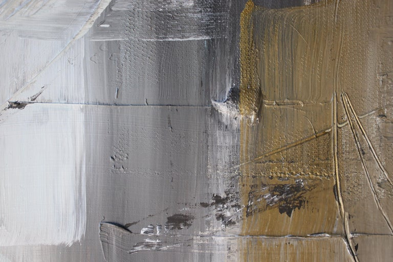 Gold Grey Mixed Media on Canvas: Acrylic Stucco, Modeling Paste Heavy Texture  - Gray Interior Painting by Irena Orlov