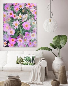 A Garden in Bloom Hot Pink Floral Painting Hand Embellished Giclee on Canvas