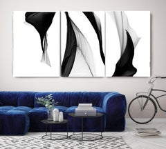 Black White Flow Contemporary TRIPTYCH Abstract Painting on Canvas 60H x 120W