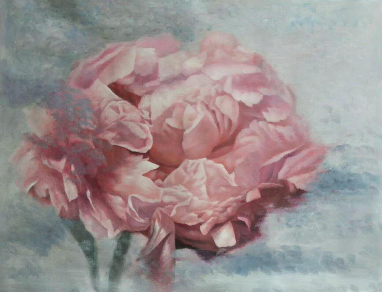 """Peony Shabby Pink Floral Art, 36 H X 48"""" W Abstract Framed Floral Painting"""