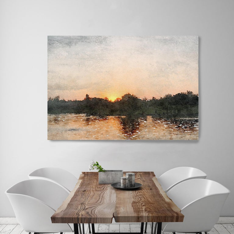 Seascape, Golden Sunrise Over Water Painting Hand Embellished Giclee on Canvas - Contemporary Mixed Media Art by Irena Orlov