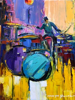 "Jazz Painting Oil on Canvas Palette Knife 16x12"" Obsessed with Music, Maya Green"