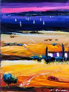 "Seascape Painting Oil on Canvas Palette Knife 16x12"" Maya Green, Purple Sky"
