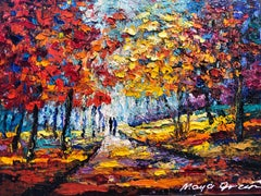 "Autumn Landscape Painting Oil on Canvas Palette Knife 14x10"" Maya Green, Fall"