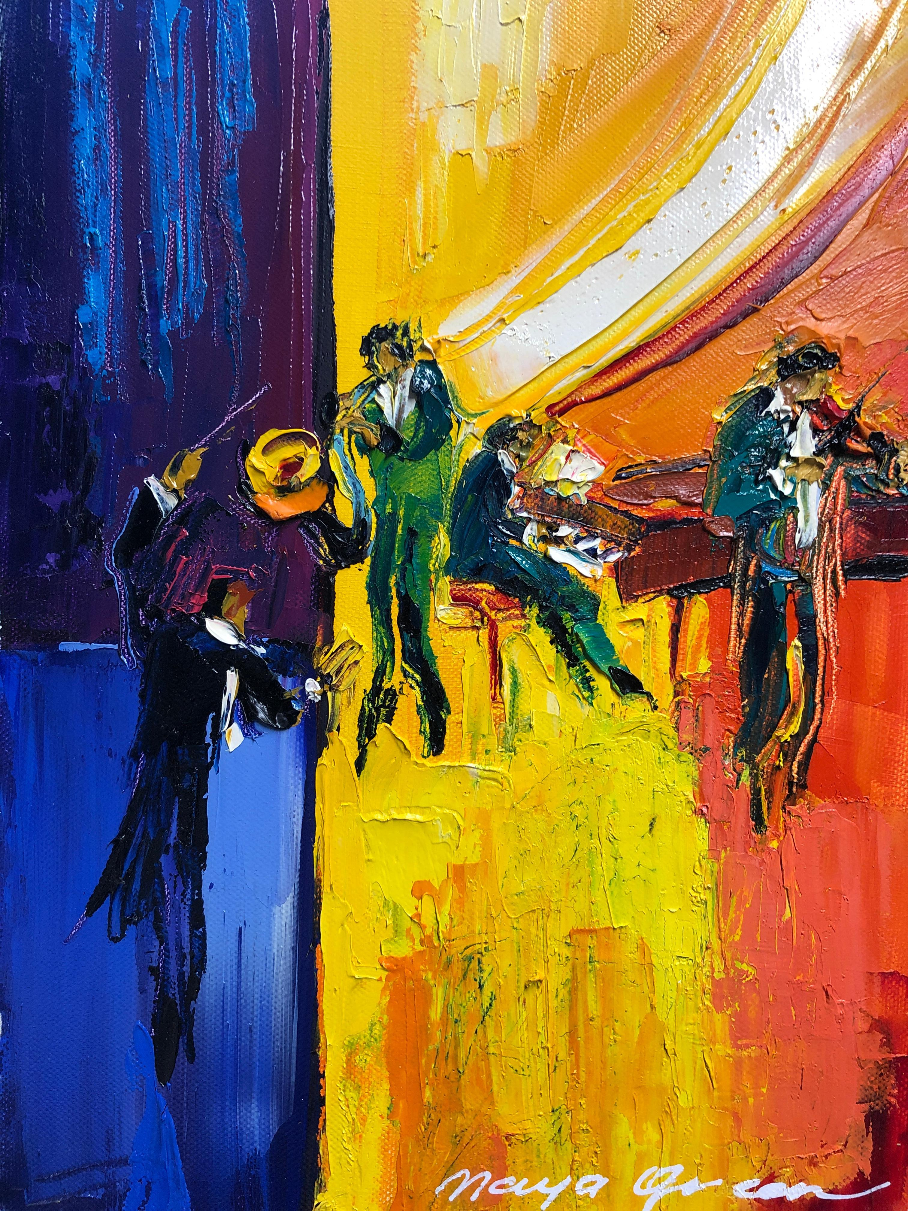 """Jazz Painting Oil on Canvas Palette Knife 14 x 10"""" The Maestro, Maya Green"""