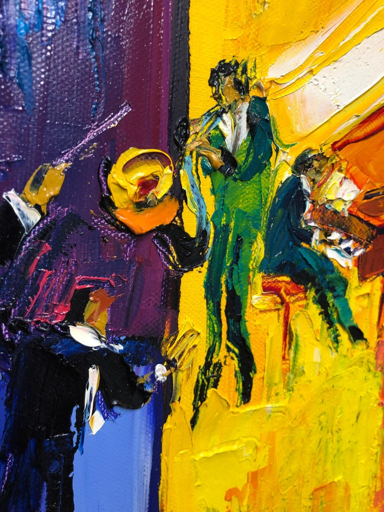 Jazz Painting Oil on Canvas Palette Knife 14 x 10