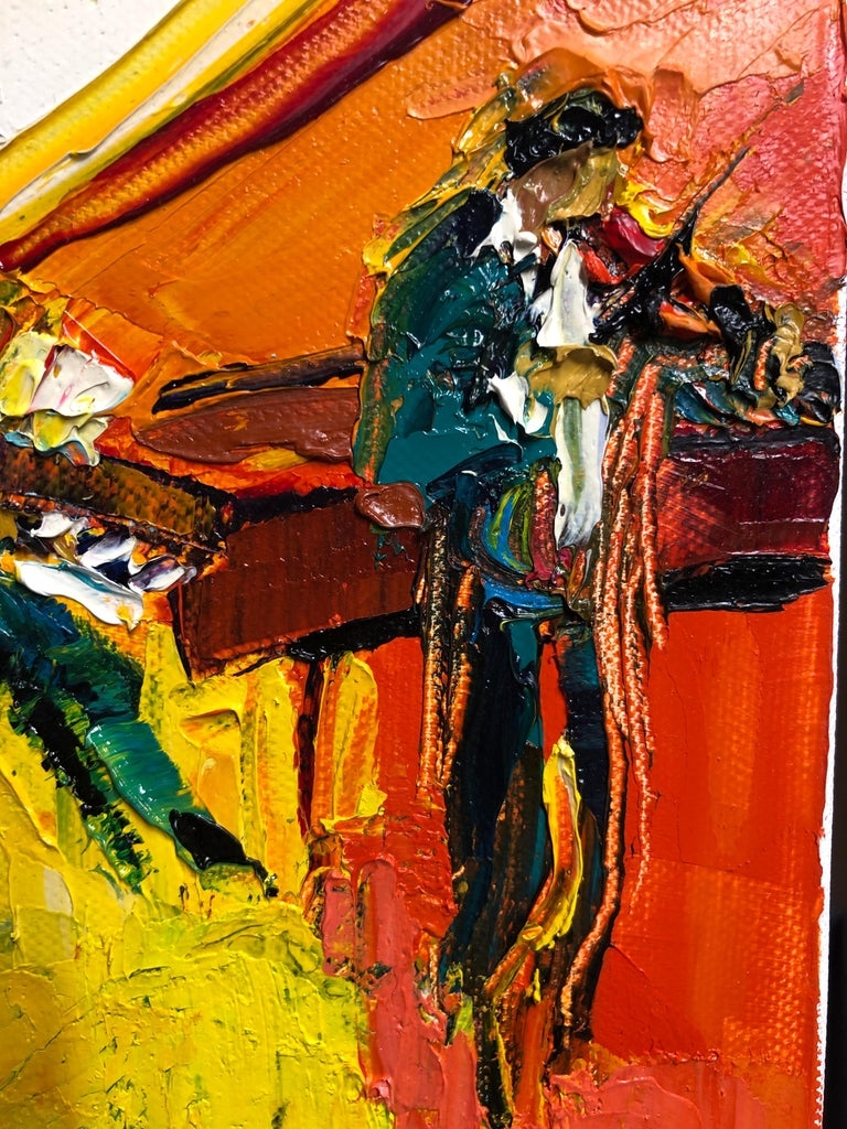 The painting is oil on canvas and painted with a pallet knife.  Jazz Painting Oil on Canvas Palette Knife 14 x 10