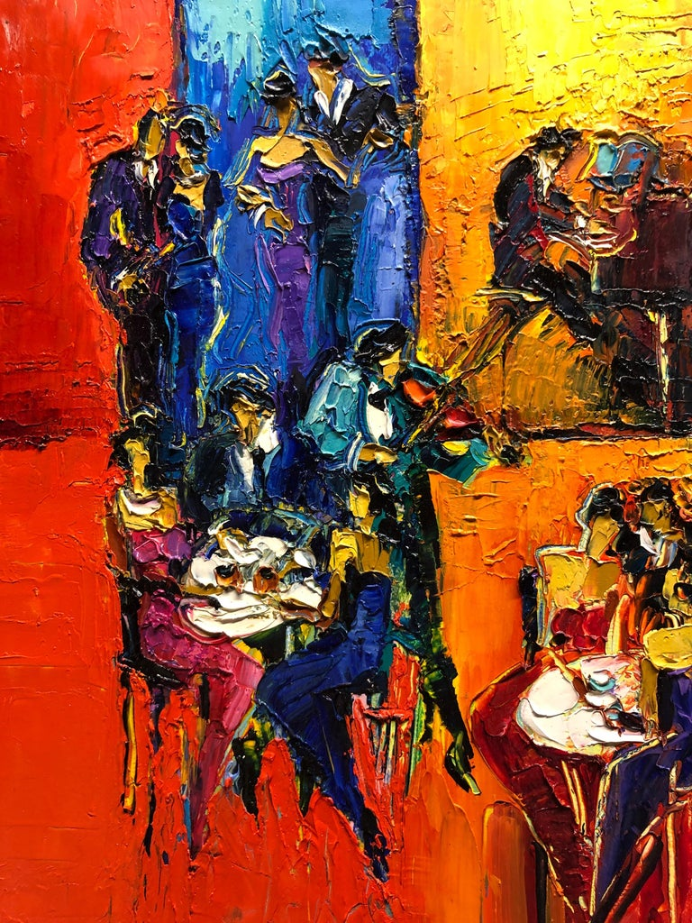 Jazz Cafe Oil Painting Palette Knife 14 x 10