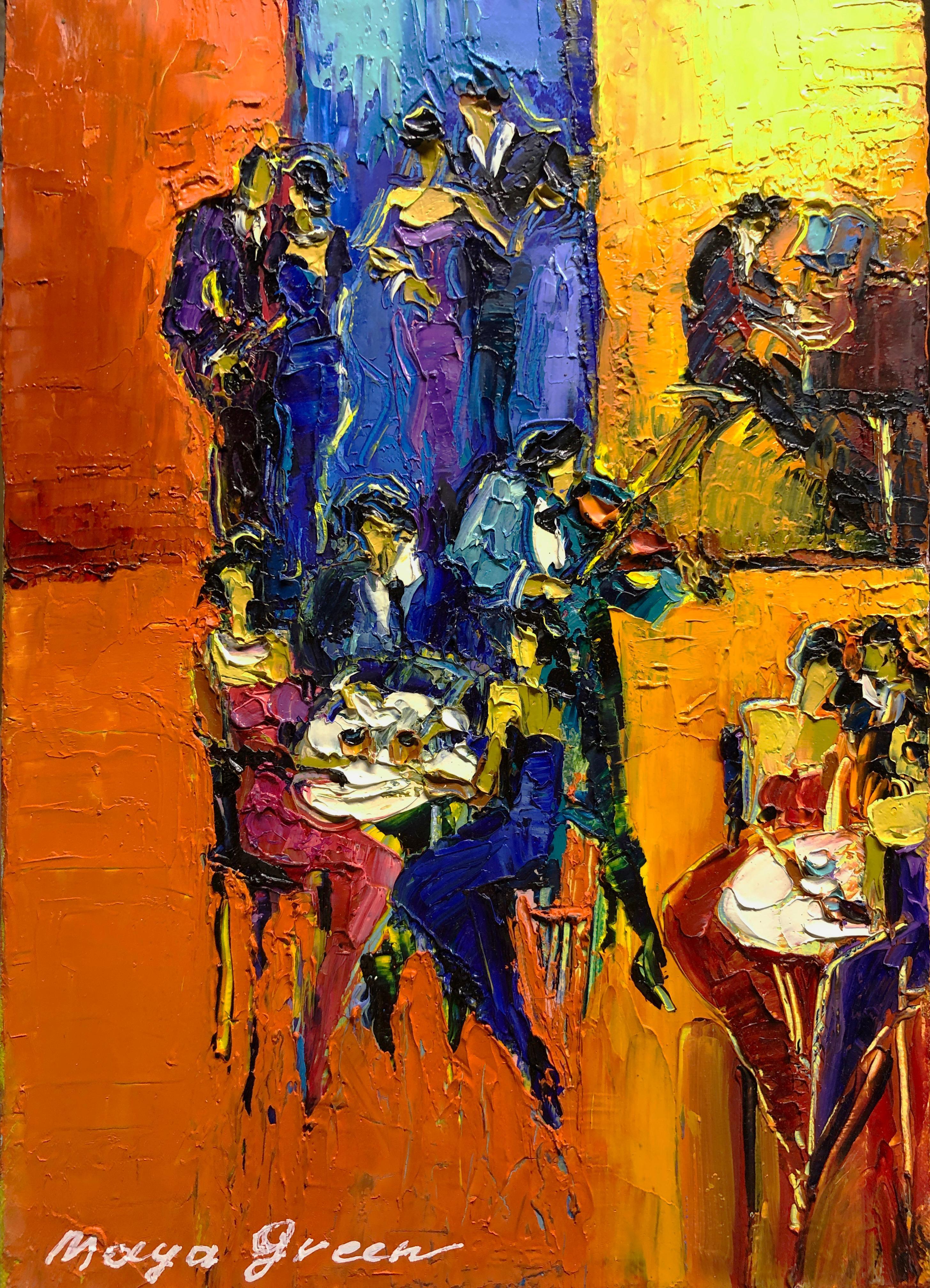 "Jazz Cafe Oil Painting Palette Knife 14 x 10"" Summer Night Romantic, Maya Green"