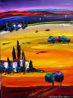 "Landscape Vibrant Oil Painting Palette Knife 16x12"" Maya Green, Sun Blessing"