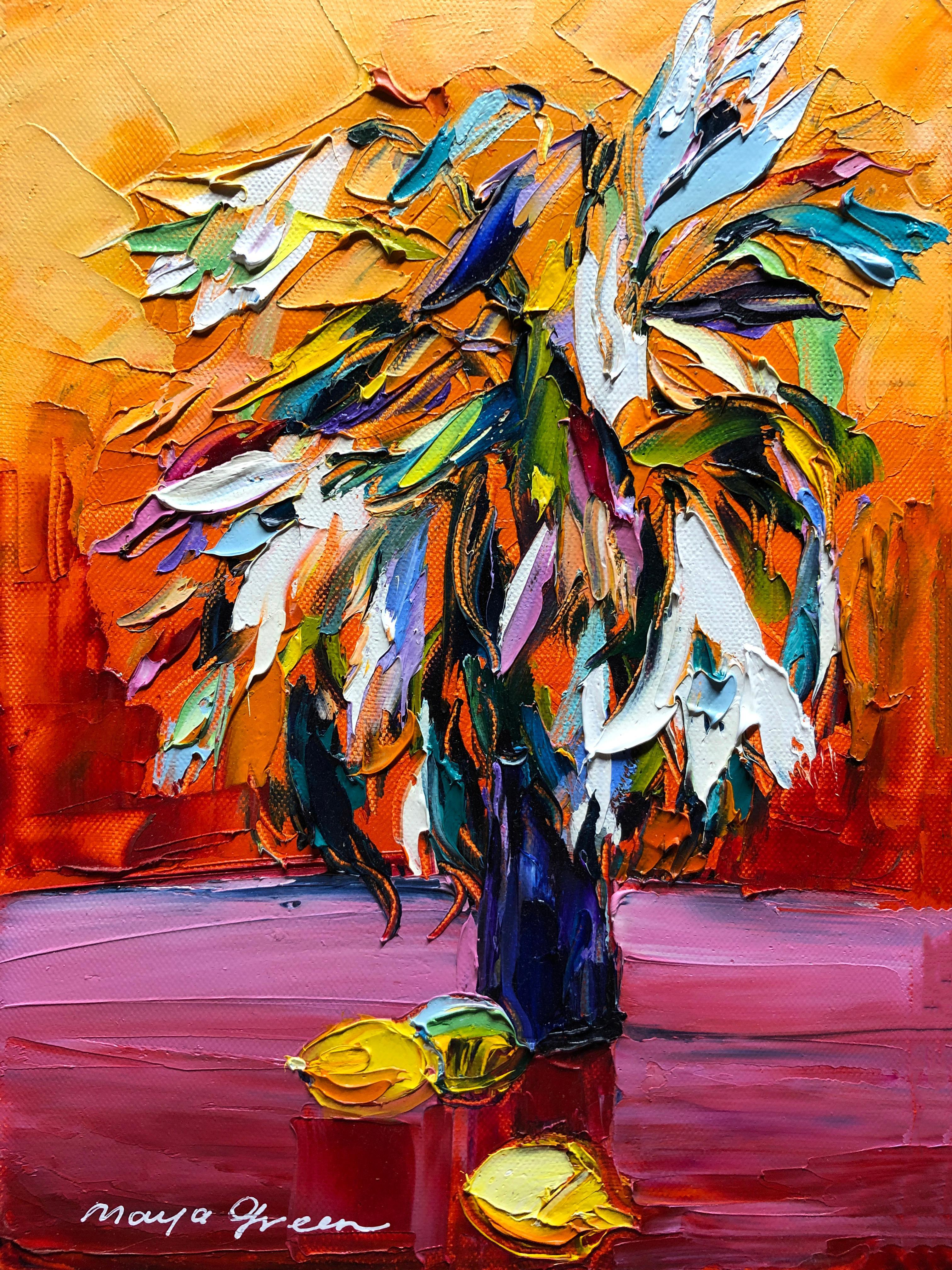 "Spring Inspiration Still Life Oil Painting Palette Knife 14 x 10"" , Maya Green"