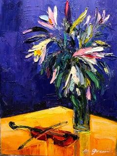 "Forgotten Melody Still Life Oil Painting Palette Knife 14 x 10"", Maya Green"
