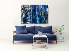 Midnight Blue Gold Abstract Heavy Textured Mixed Medium on Canvas, 36 x 48""