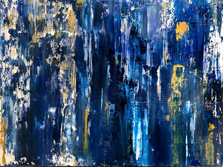 Midnight Blue Gold Abstract Heavy Textured Mixed Medium On Canvas 36 X 48