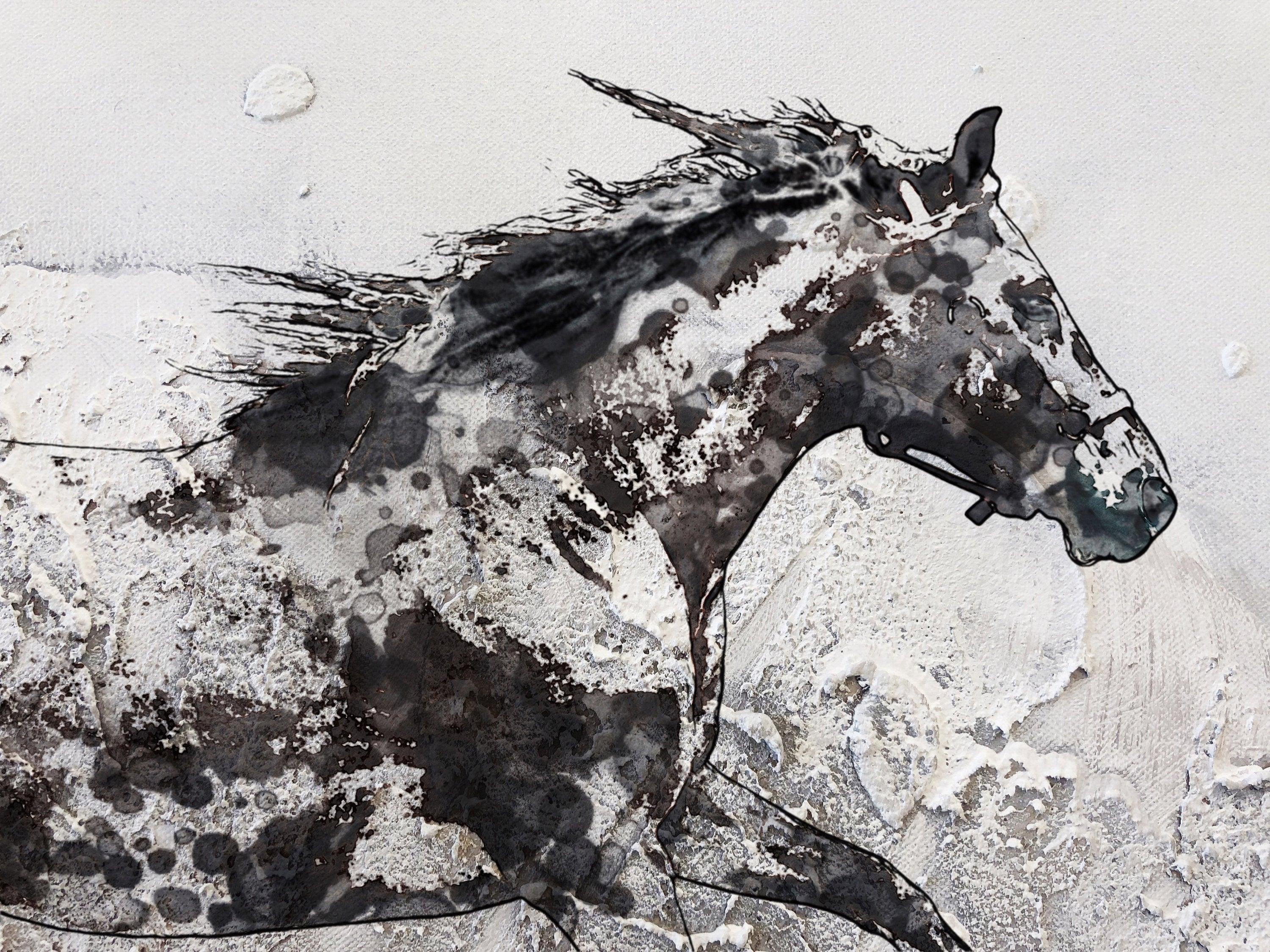 Irena Orlov Running Horse White Black Mixed Media Painting On Canvas 48 X 36 For Sale At 1stdibs