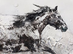 Running Horse White Black Mixed Media Painting on Canvas 48 x 36""
