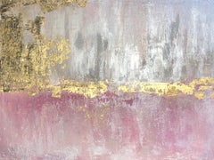 "Gold Pink Silver Abstract Heavy Textured Art on  Canvas 36 x 48"" Pink Golden Fog"