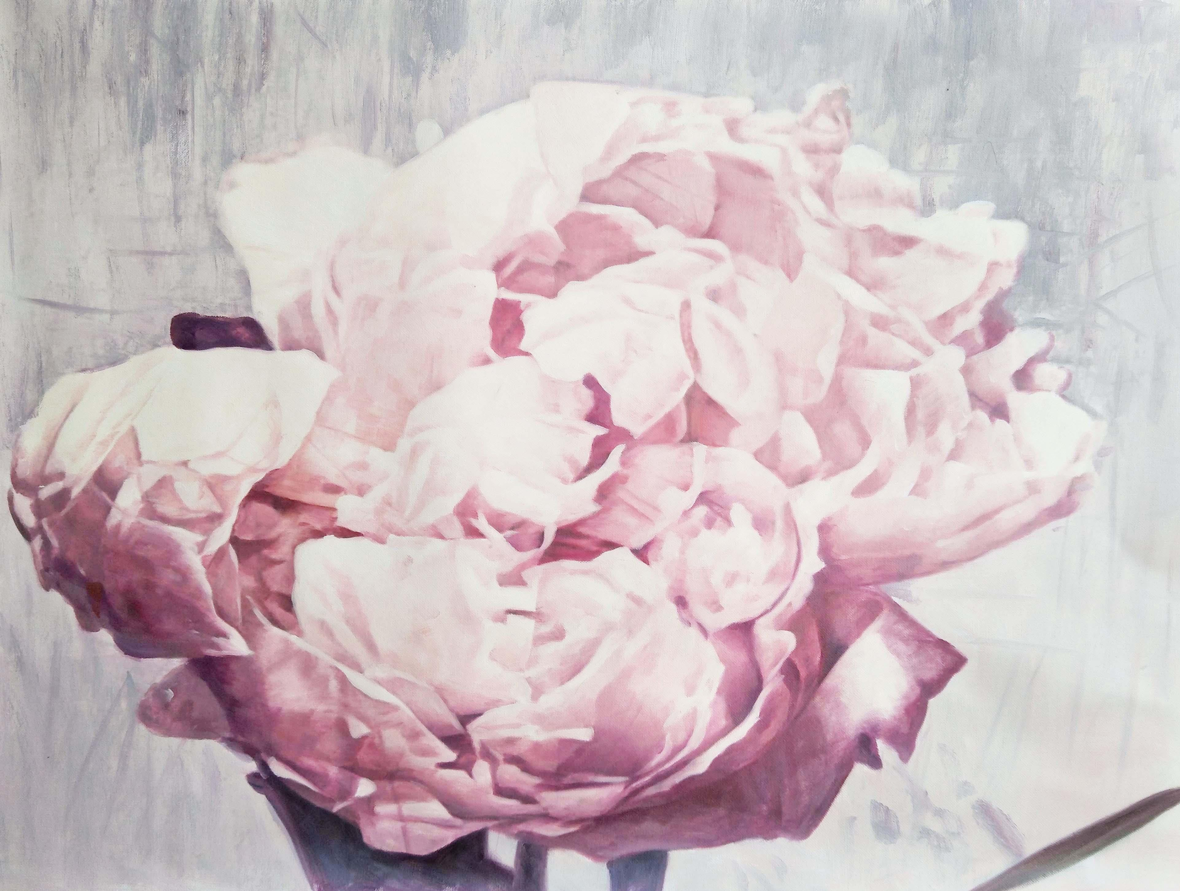 """Blush Peony Shabby Floral Art, 36 H X 48"""" W Abstract Framed Floral Painting"""