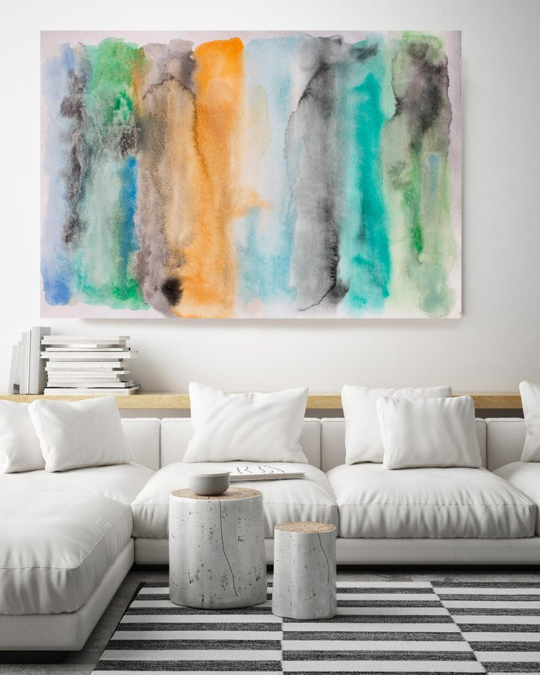 Green Blue Orange Watercolor Painting Hand Textured Giclee on Canvas  Across the Bay  State-of-the-art HAND EMBELLISHED ∽ MUSEUM QUALITY ∽ DISPLAY READY Giclee Reproduction Each limited edition Giclee is hand embellished and textured  by the artist,